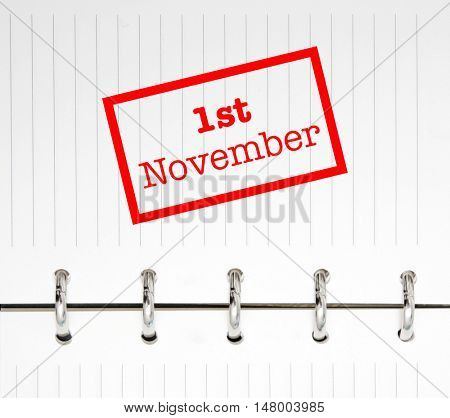 1st November written on an agenda