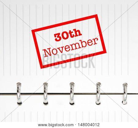 30th November written on an agenda