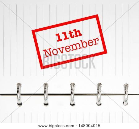 11th November written on an agenda