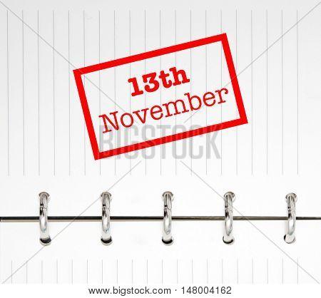 13th November written on an agenda