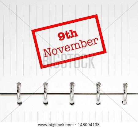 9th November written on an agenda