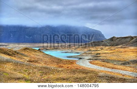 Landscape near Jokulsarlon Glacier Lagoon, South Iceland