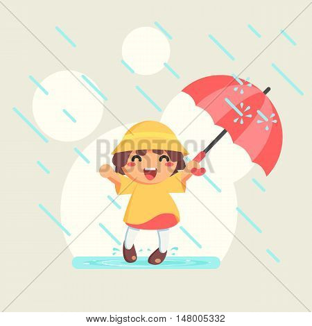 Happy cute Girl in raincoat with umbrella in autumn rainy season flat cartoon vector illustration