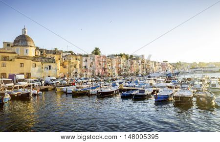 Marina Grande harbor on Procida island in Campania Italy
