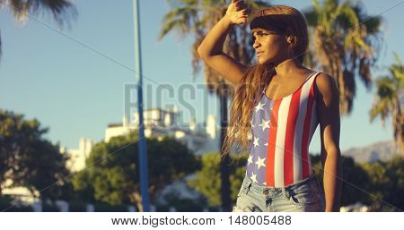 Pretty African Woman in Casual Summer Clothing