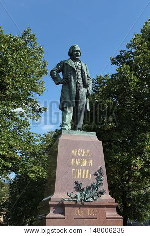 aint-Petersburg, Russia - August 14, 2016 - A monument of world famous composer Glinka about Mariinsky Theatre in August 14, 2016 in St. Petersburg, Russia