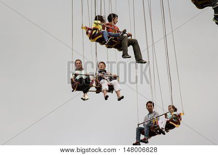 St. Petersburg, Russia - 13 August, Hanging high in the air people,13 August, 2016. Entertainment in a city park.