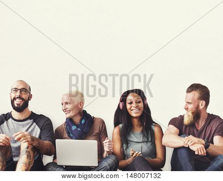 Diverse People Friendship Digital Device Connection Concept