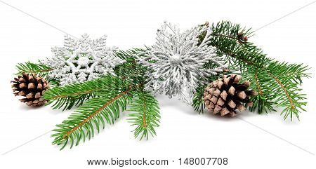 Christmas decoration fir cones and fir branches isolated on a white background