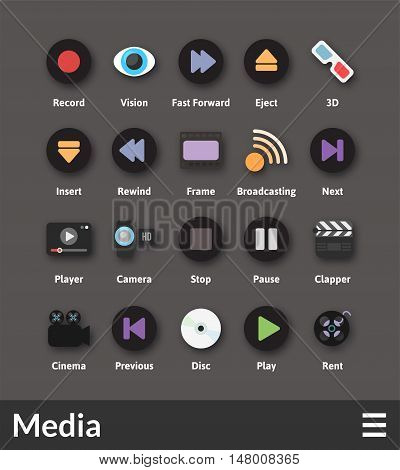 Flat material design icons set - media collection