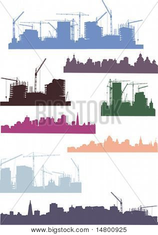 illustration with cities silhouettes isolated on white background