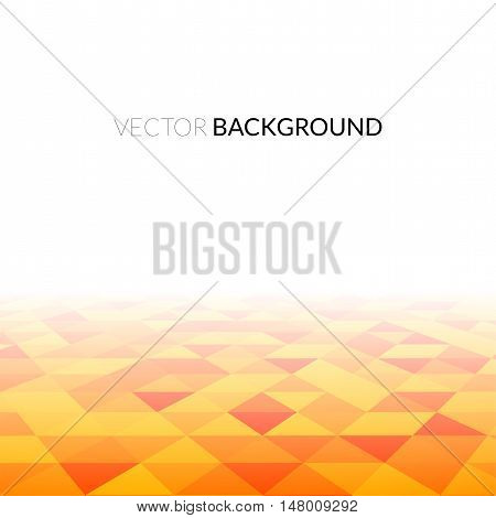 Abstract orange triangle field, perspetive pattern in fog, geometrical vibrant multicolored vector background illustration