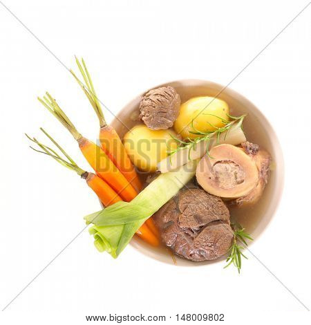 beef with vegetable and broth,pot au feu