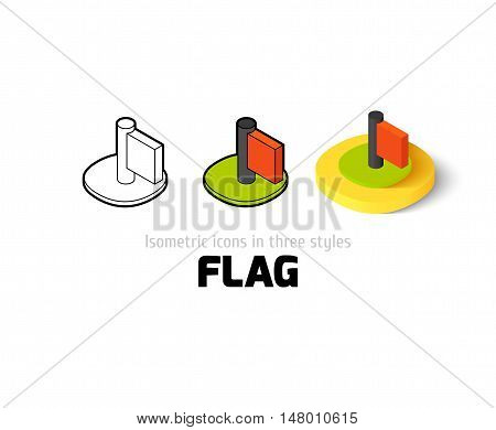 Flag icon, vector symbol in flat, outline and isometric style