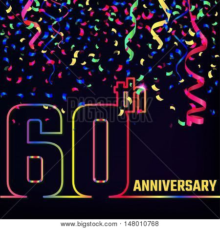 Vector Illustration of Anniversary 60th Outline for Design, Website, Background, Banner. Jubilee silhouette Element Template for festive greeting card. Shiny colorful Confetti celebration