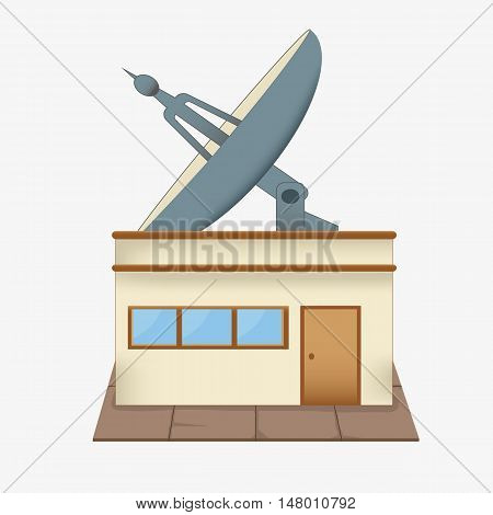 a large satellite dish on the roof. the building of the radio Studio. antenna. isolated on a white background.