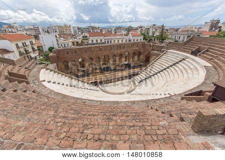 Panorama of Amphitheater in Roman Odeon, Patras, Peloponnese, Western Greece