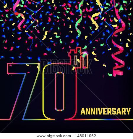 Vector Illustration of Anniversary 70th Outline for Design, Website, Background, Banner. Jubilee silhouette Element Template for festive greeting card. Shiny colorful Confetti celebration
