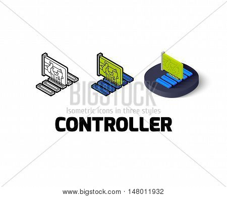 Controller icon, vector symbol in flat, outline and isometric style