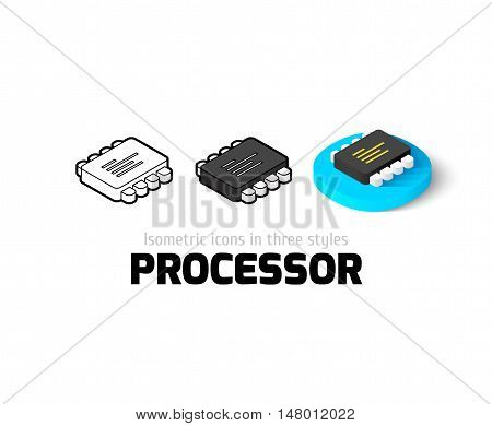 Processor icon, vector symbol in flat, outline and isometric style