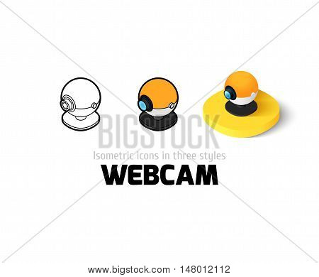 Webcam icon, vector symbol in flat, outline and isometric style