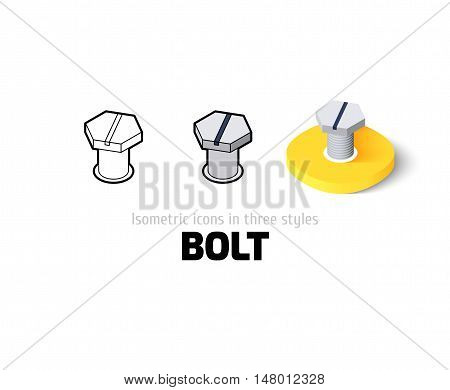 Bolt icon, vector symbol in flat, outline and isometric style