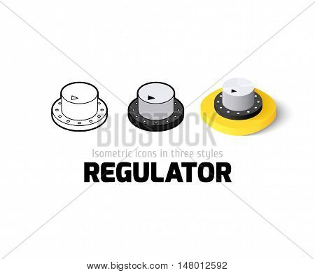 Regulator icon, vector symbol in flat, outline and isometric style