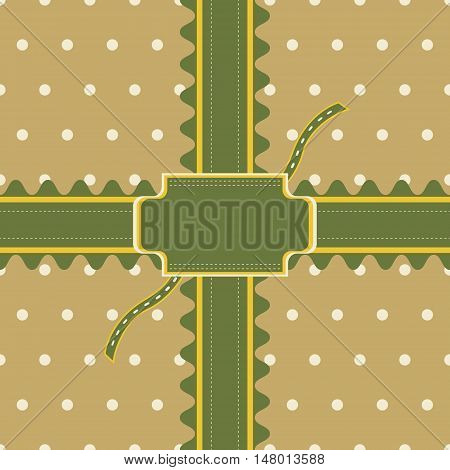 Gift design with stitched ribbon and figured greeting card on polka dot background. Seamless vector illustration in elegant retro color palette