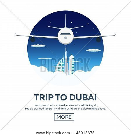 Trip To Dubai, Uae. Tourism. Travelling Illustration. Modern Flat Design. Travel By Airplane, Vacati