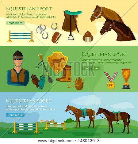 Equestrian sport banner professional jockey club horse racing vector illustration
