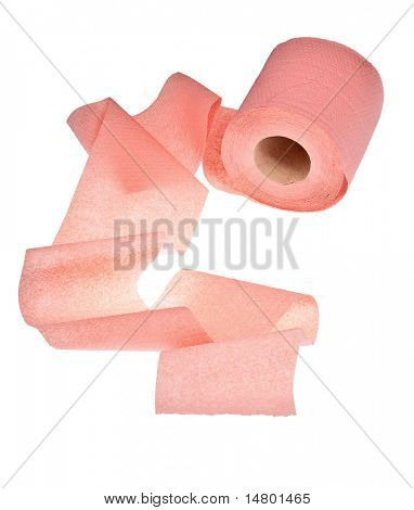 pink toilet paper isolated on white background