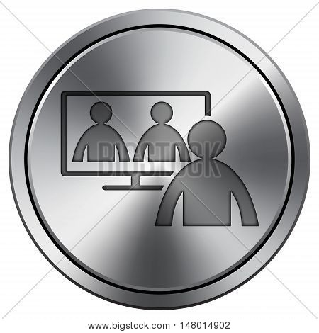 Video Conference, Online Meeting Icon. Round Icon Imitating Metal.