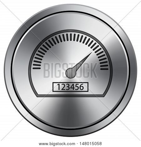 Speedometer Icon. Round Icon Imitating Metal.