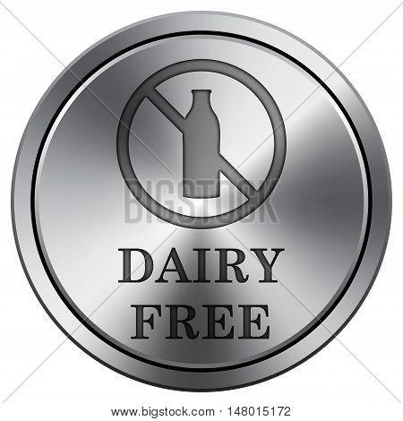 Dairy Free Icon. Round Icon Imitating Metal.
