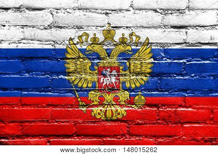 Flag Of Russia With Coat Of Arms, Painted On Brick Wall