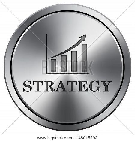 Strategy Icon. Round Icon Imitating Metal.