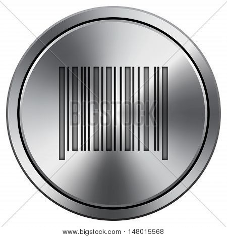 Barcode Icon. Round Icon Imitating Metal.