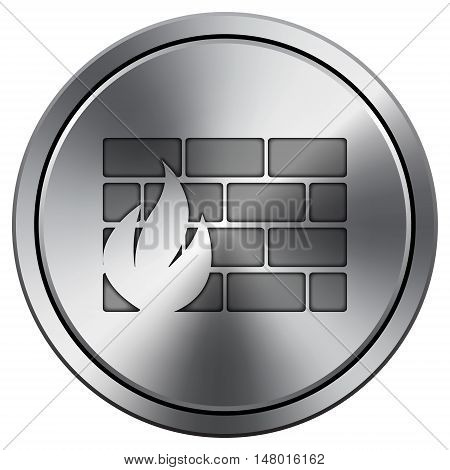 Firewall Icon. Round Icon Imitating Metal.