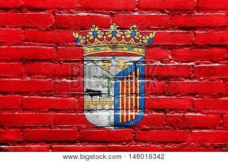 Flag Of Salamanca, Spain, Painted On Brick Wall