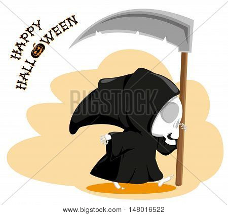 Funny little death with a large scythe with title Happy Halloween isolated on white background. Cartoon style. Vector illustration