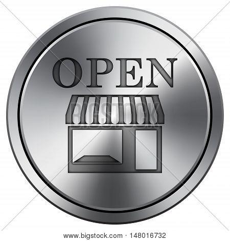 Open Store Icon. Round Icon Imitating Metal.
