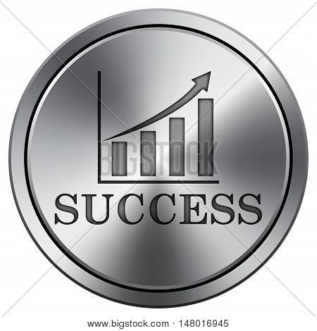 Success Icon. Round Icon Imitating Metal.
