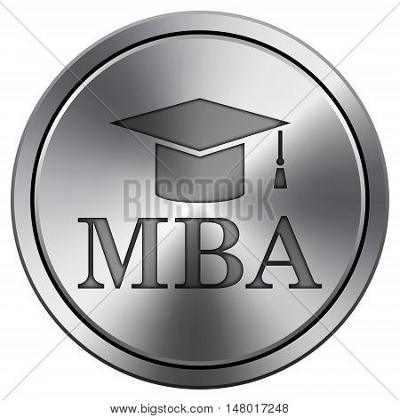 Mba Icon. Round Icon Imitating Metal.