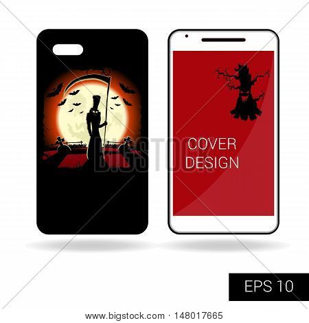 Design cover mobile smartphone with scary monster or death on cemetery on backdrop big moon. Concept in cartoon style isolated on white background. Vector illustration
