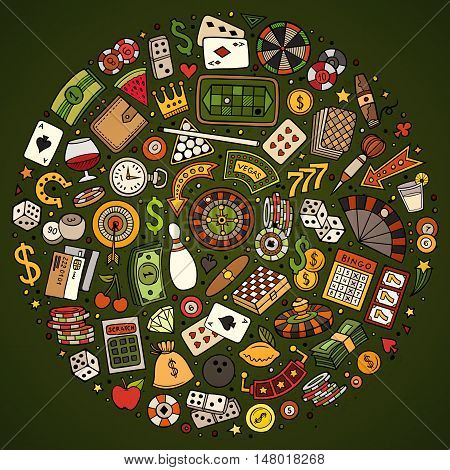Colorful vector hand drawn set of Casino cartoon doodle objects, symbols and items. Round composition