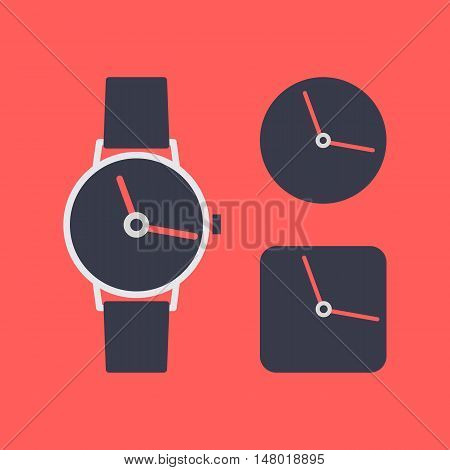Set of different clock icons in flat style isolated on a red background vector illustration.