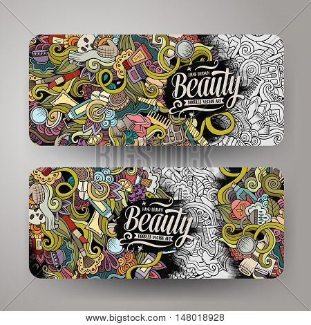 Cartoon cute colorful vector hand drawn doodles cosmetic corporate identity. 2 horizontal beauty banners design. Templates set