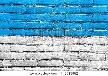 Flag Of Sangolqui, Ecuador, Painted On Brick Wall