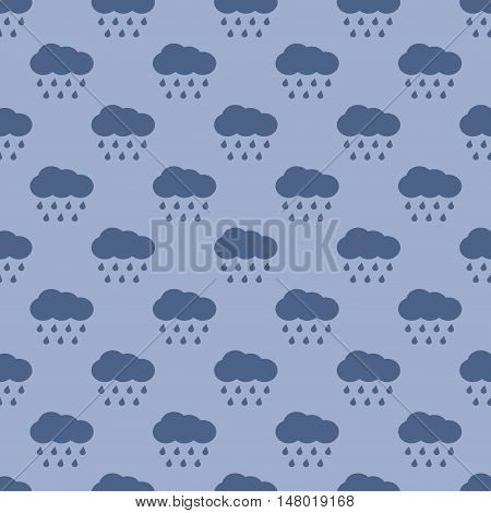 Vector clouds and rain weather seamless pattern background with water drops illustration