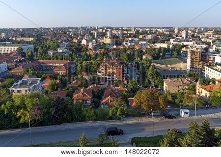 Amazing sunset panorama of City of Haskovo from Monument of Virgin Mary, Bulgaria